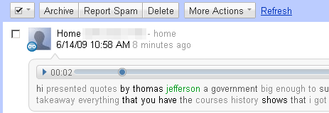 Sample of a Google Voice transcription