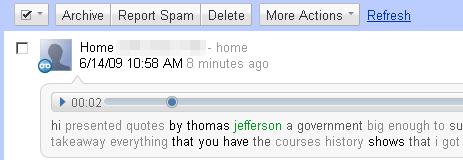Sample of a Google Voice transcription